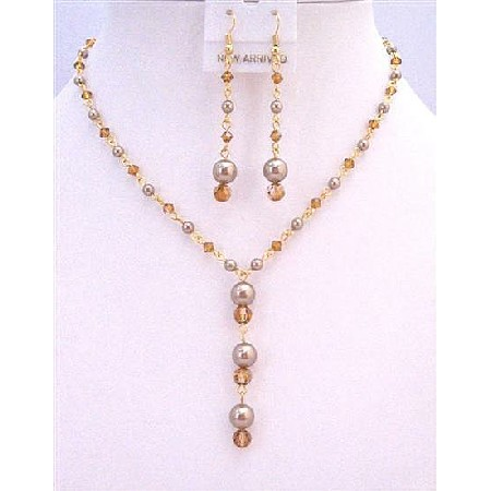 Copper Swarovski Crystals Jewelry Set Pearls 22k Gold Plated Chain