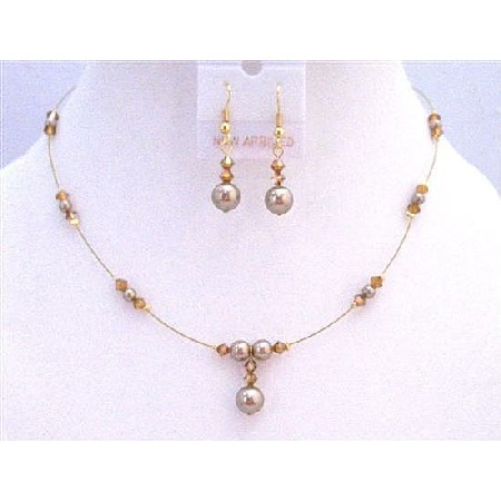 Golden Wire Copper Crystals Bronze Pearls Necklace Jewelry