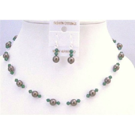 Clover Green Swarovski Crystals w/ Chocolate Brown Wedding Jewelry Set