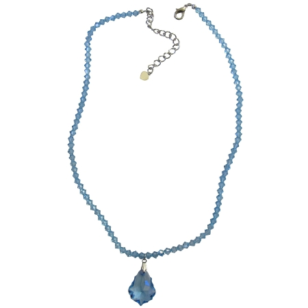 Aquamarine Briollette Pendant Aquamarine Crysal Necklace