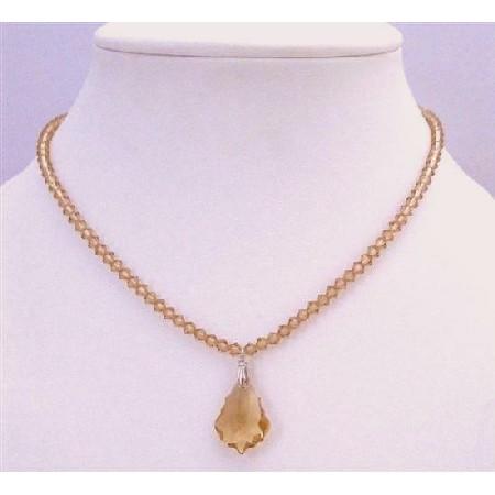 Lite Colorado Crystals Briollette Pendant Prom Bridesmaid Necklace
