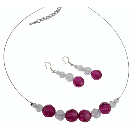 Flower Girl Jewelry Of Swarovski Clear & Fuchsia Crystals Round Crystals Necklace Set