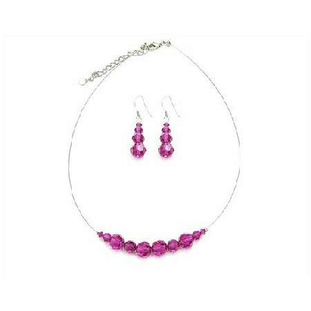 Customize Your Color Round Fuchsia Crystals Wedding Jewelry