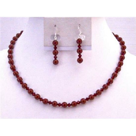 Swarovski Red Bordeaux Pearls Siam Red Wine Color Weding Jewelry Set