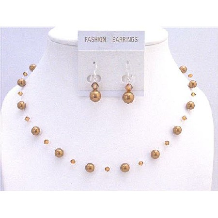 Hancrafted Copper Pearls Copper Crystals Wedding Jewelry Set