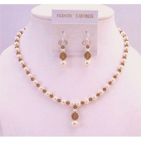 Ivory Pearls Swarovski Smoked Topaz Drop Down Bridesmaid Necklace Set