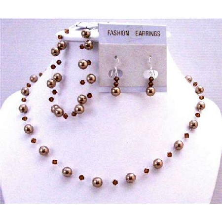 Customized Bridal Jewelry Bronze Pearl Smoked Topaz Swarovski Crystals