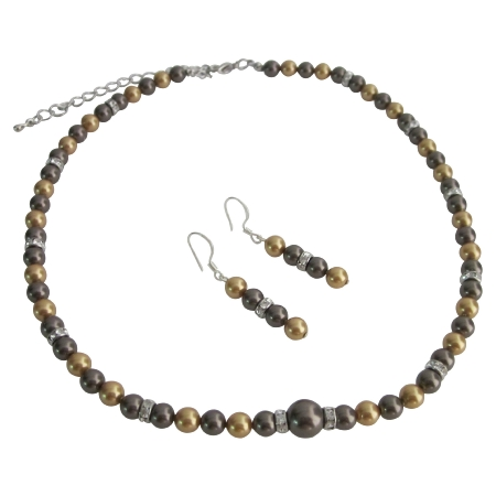 Handcrafted Pearls Bright Gold Brown Chocolate Jewelry Set