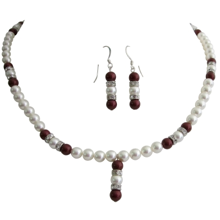 Sophisticate Jewelry Wine Bordeaux Pearls Necklace Earrings