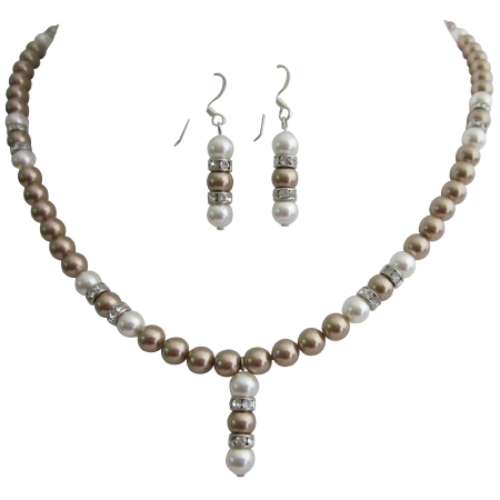Wedding Bridal Bridesmaid Bronze Pearls White Pearls Jewelry Set