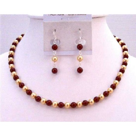 Gold & Wine Pearls Pearls Necklace Prom Gift Jewelry Set