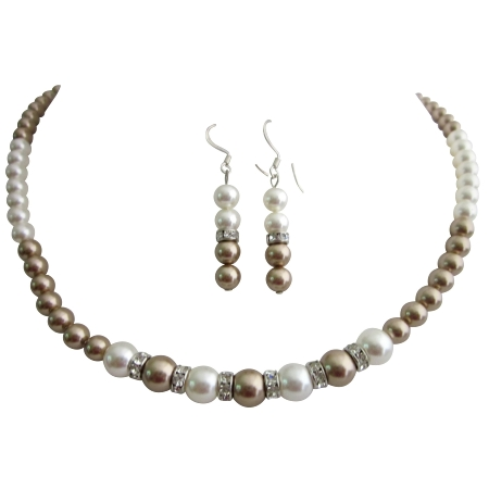 Bridal Bridesmaid Bronze White Pearls Handmade Swarovski Jewelry Set