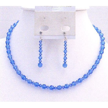 Sapphire Crystals Round Bead Crystals Necklace Prom Jewelry