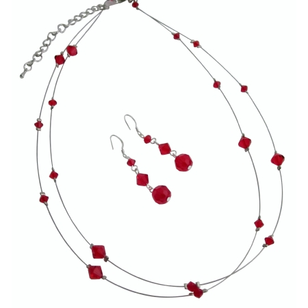 Red Crystals Lite Siam Bridal Bridesmaid Double Stranded Necklace Set