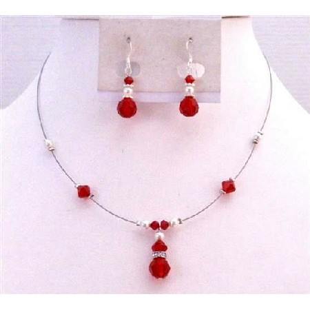 Bridesmaid Lite Siam Red Crystals White Pearls Necklace Set