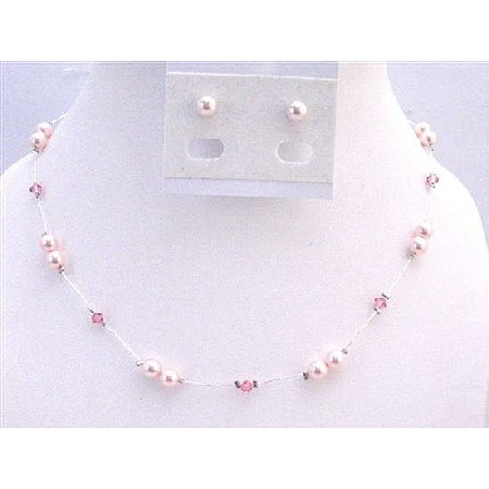Rose Pink Pearls Rose Crystals Bridal Bridesmaid Prom Set