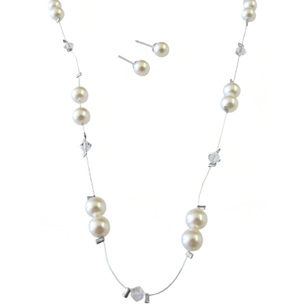 Cheap Wedding Jewelry Ivory Pearls Clear Crystals Necklace
