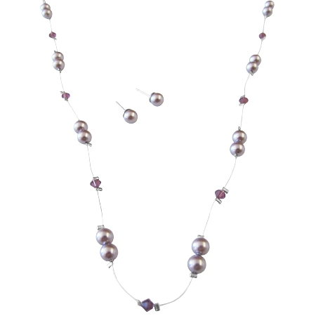 Lilac Pearls Amethyst Crystals In Silk Thread Necklace Set
