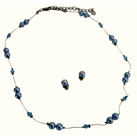Cheap Jewelry Blue Pearls Aquamarine Crystals Accented In Silk Thread