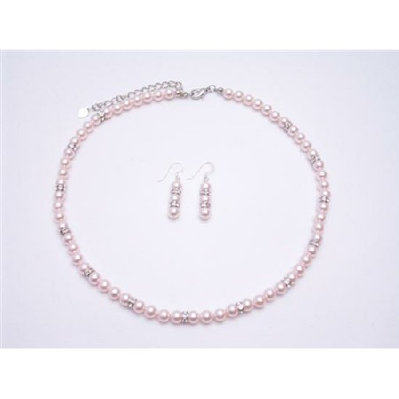 Rose Pearls Jewelry Set Gift Prom Pink Pearls Complete Set