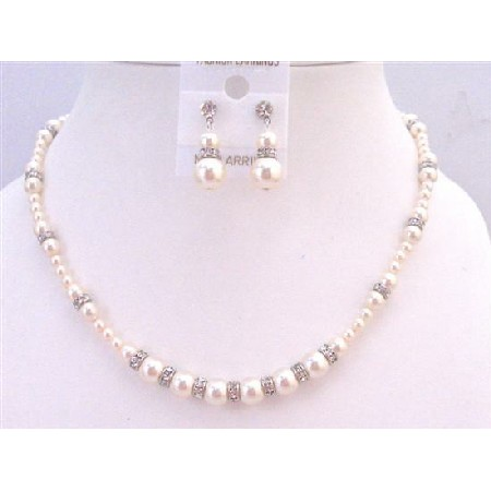 Bridal Custom Jewelry Ivory Pearls Silver Diamond Spacer