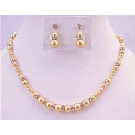 Gold Pearls Light Gold Pearls Jewelry Wedding Gift Pearls Necklace Set