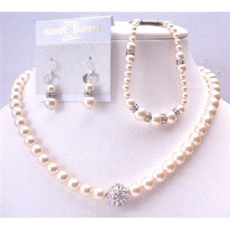 Handmade Ivory Pearls 8mm Bridal Jewelry Complete Set w/ Bracelet