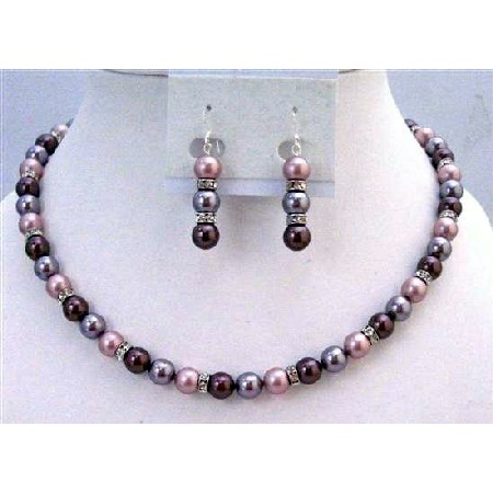 Lavender Burgundy Powder Rose TriColor Pearls Necklace Set