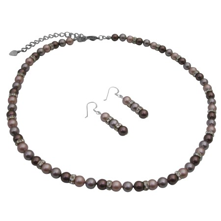 TriColor Swarovski Lavender Burgundy Powder Rose Rondells Jewelry Set