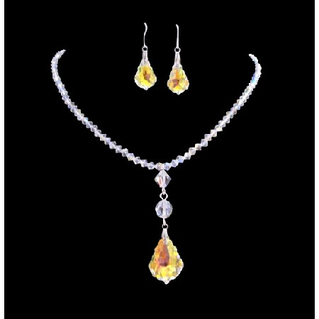 AB Crystal AB Baroque Pendant Irridescent Drop Down Necklace