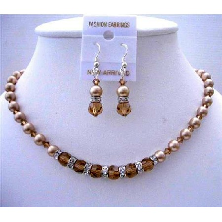 Smoked Topaz Crystals Champagne Pearl Bridesmaid Jewelry Set
