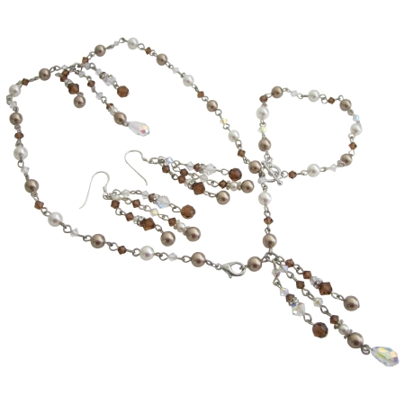 Drop Down Tassel Jewelry Bronze White Pearl Clear Smoked Topaz Crystal