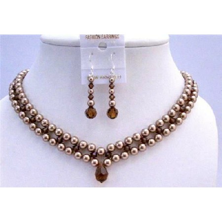 Interwoven 3 Stranded Necklace Set Bronze Pearls Smoked Topaz Crystals