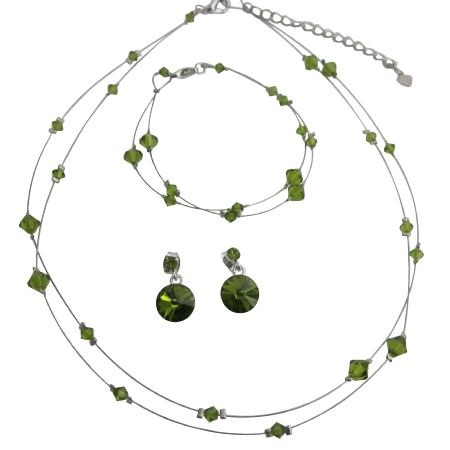Olivine Dress Green Crystals Double Stranded Necklace Bracelet Bridal