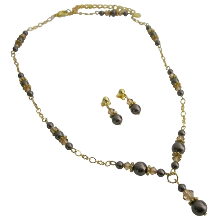Gold 22k Plated Brown Pearls Colorado Crystals Necklace Set