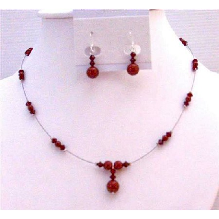 Wine Pearls Red Bordeaux & Siam Red Crystals Bridesmaid Jewelry