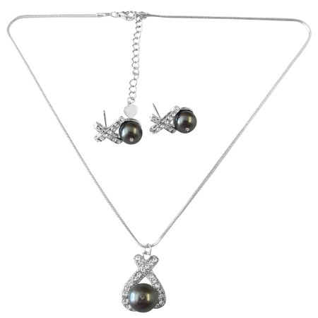 Graceful Necklace Set in Dark Gray Pearl Pendant & Stud Earrings Set
