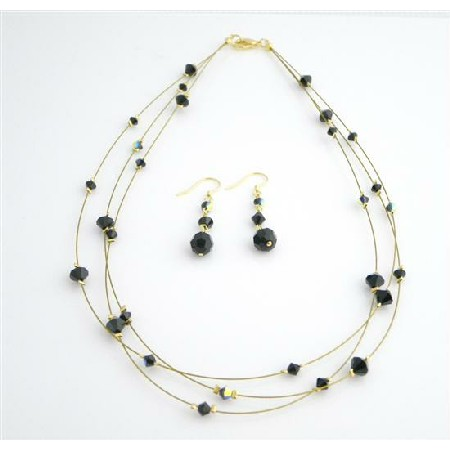 Jet Crystal Dress Jewelry Golden Three Stranded Necklace Set