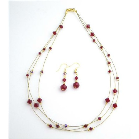 Handcraft Your Jewelry Siam Red Crystals AB Siam Red 3 Strand Necklace