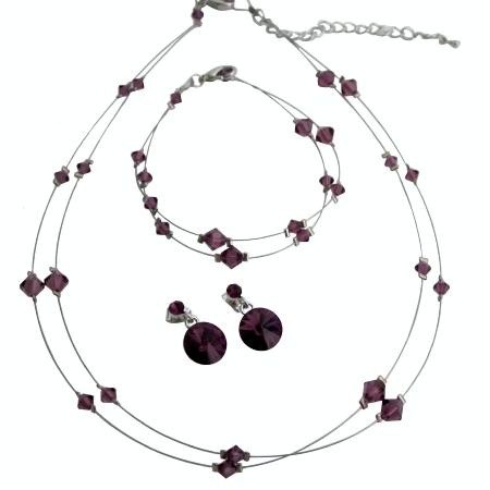 Custom Jewelry Amethyst Crystals Double Stranded Necklace w/ Bracelet