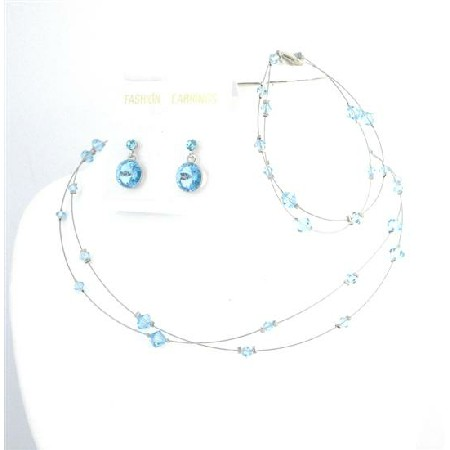 custom Handcraft Jewelry Aquamarine Crystals Complete Set