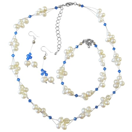 Bridal Jewelry Sapphire Crystals & Freshwater Pearls