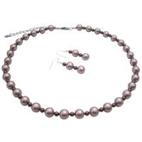 Spectacular Attractive Jewelry Platinum Champagne w/ Brown Pearls Set :  necklace fashion pearls set gift