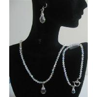 Bridal Bridemaids Swarovski AB Crystals Wedding Jewelry Teardrop Set