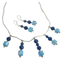 Bridal Jewelry - Aquamarine Swarovski Crystals And Metallic Blue Crystals Silver Pipe