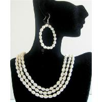 Rice Freswater Pearls 3 Stranded Bridal Bridemaids Wedding Jewelry Set