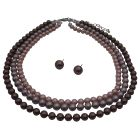 Three STRANDS NECKLACE SET Beautifully Handcrafted3 Stranded Swarovski Pearls Tri-Colors Necklace Set
