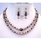 Golden Rondells Swarovski Champagne Pearls Double Stranded Necklace Set w/ Smoked Topaz Crystals Wedding Jewelry