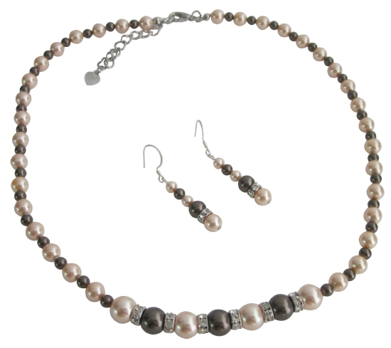Dark Chocolate Jewelry With Peach Pearls With Silver Rondells Spacer Wedding