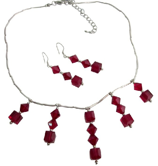 Bridal Jewelry for the Wedding Ceremony - Exclusively Weddings Genuine Garnet Crystals Bridal Sterling Silver Necklace Set Handmade